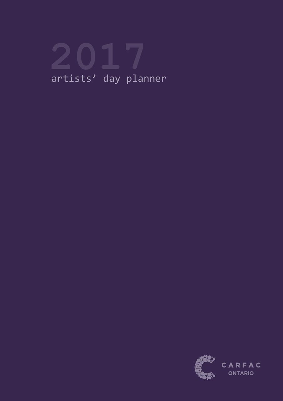 Cover of the 2017 Artist Day Planner